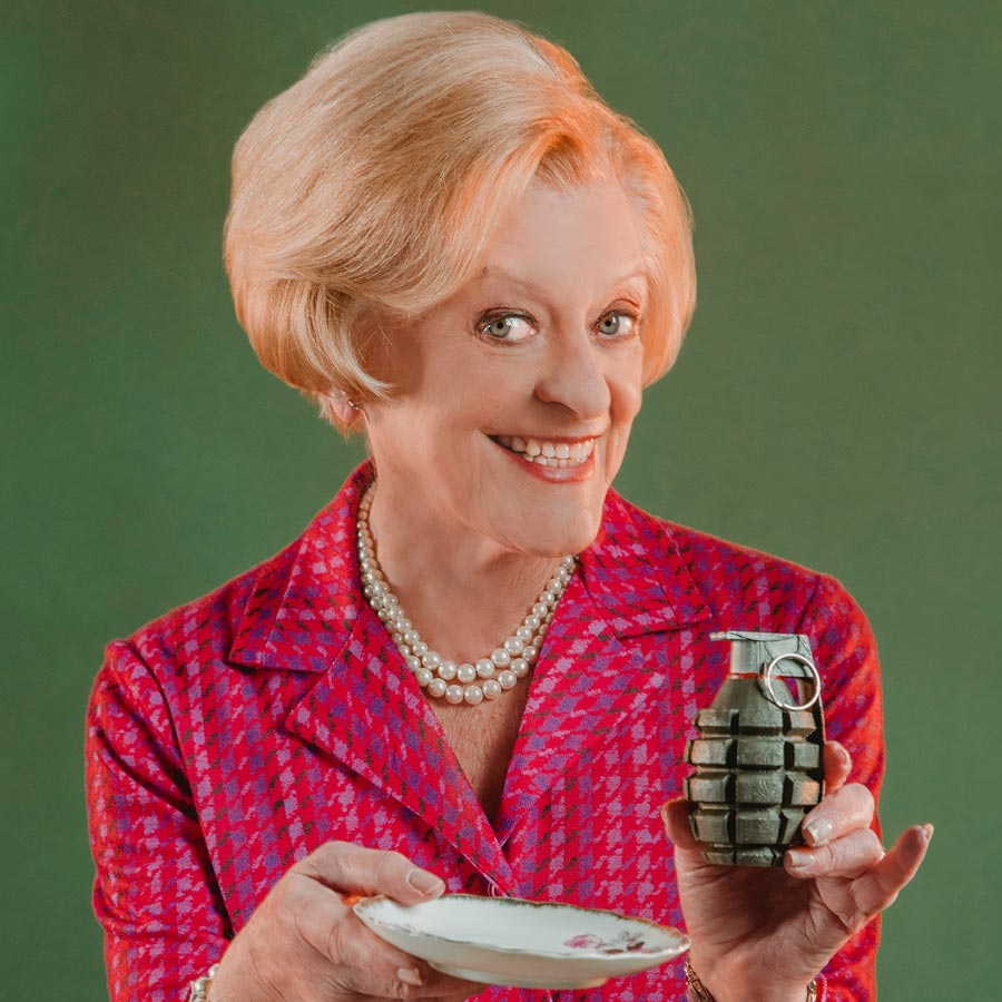 Woman holding a grenade like a teacup – Ripcord State Theatre Company